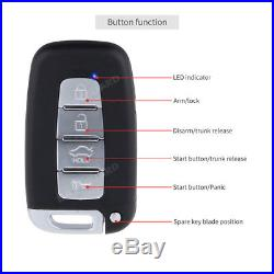 Automatic car PKE remote starter push button keyless entry security alarm system