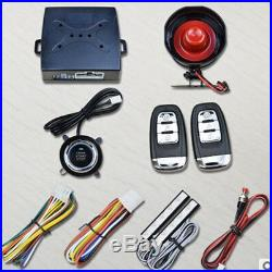 Smart Passive Keyless Entry Car Alarm System Starter W Push Button Remote Kit